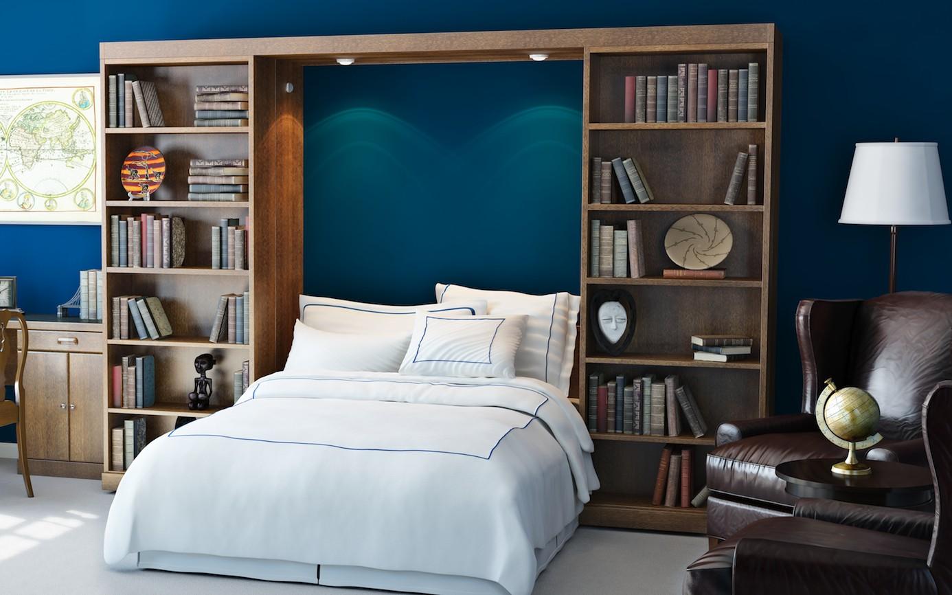 Abbott Library Murphy Bed Bookcase   Open